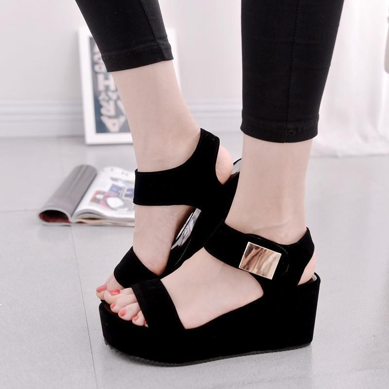 5fbb9a500d4b72 2017 Women Platform Sandals Black White Sexy High Heel Wedge Sandals  Fashion Summer Women Sandals Ladies Shoes Sandalias Mujer-in Women s  Sandals from Shoes ...