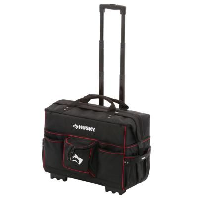 Husky 22 In Pro Grade Rolling Tote Bag Gp 44449n13 The Home Depot Tool Bag With Wheels Tool Tote Bag Tool Tote