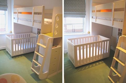 Bunk Bed With Room Under love the rolling crib that fits under the top bunk someday to