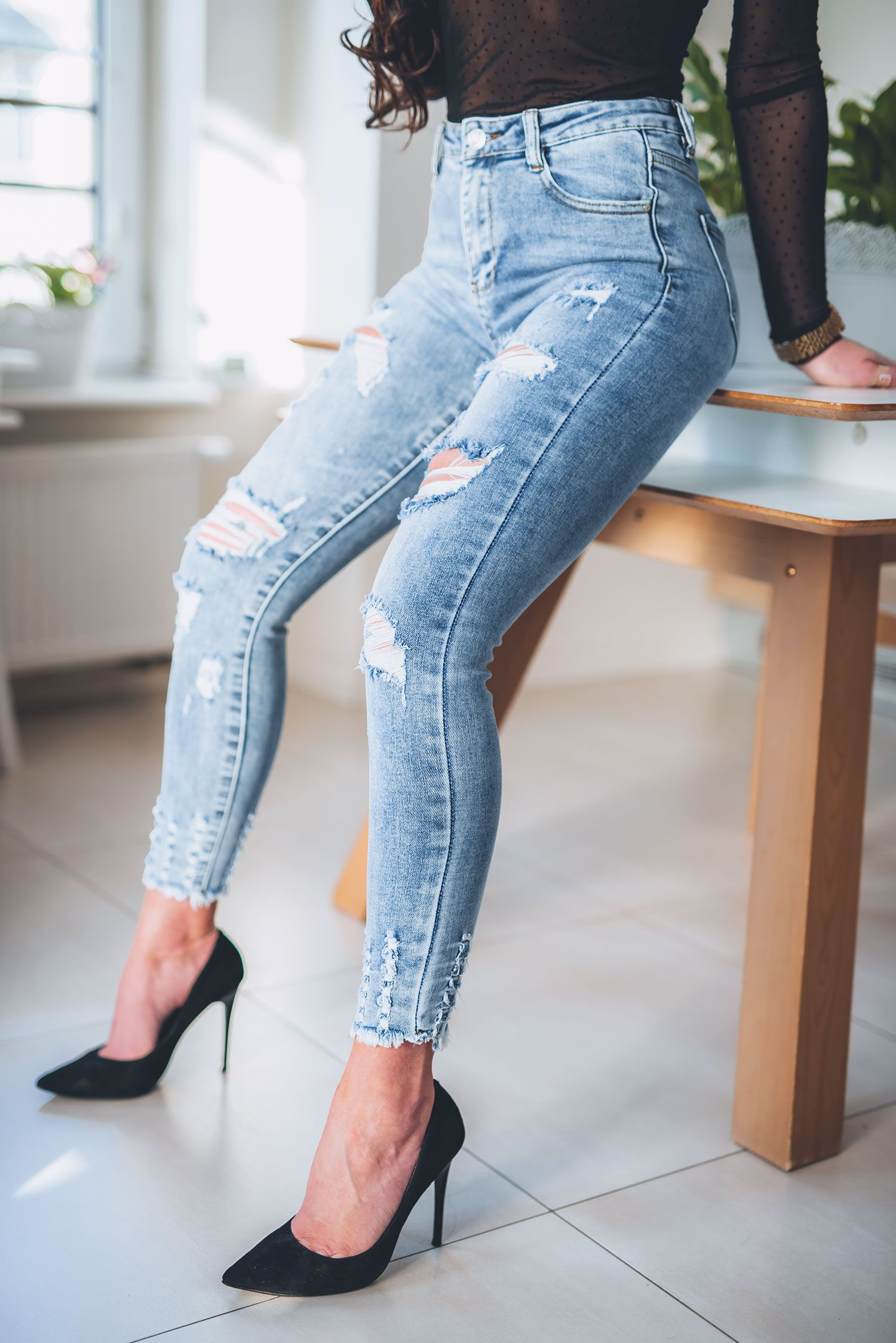 Z315 Jasne Spodnie Jeansowe Dekatyzowane Rurki Z Dziurami Rozmiar Xs S M L Xl Skinny Jeans Fashion Capri Pants