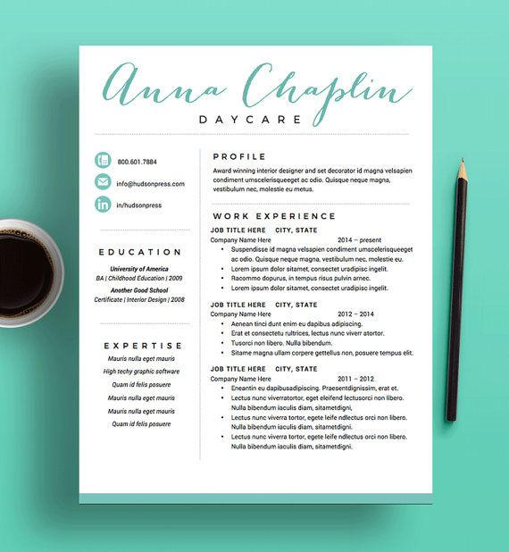 Creative Resume Template  Cv  Modern Resume Layout  Cover
