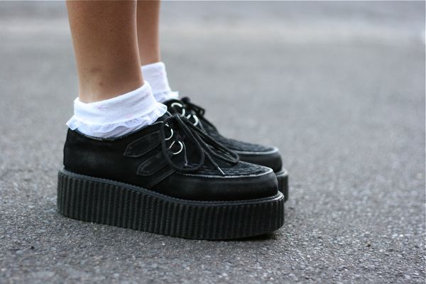 creepers and white frilly socks