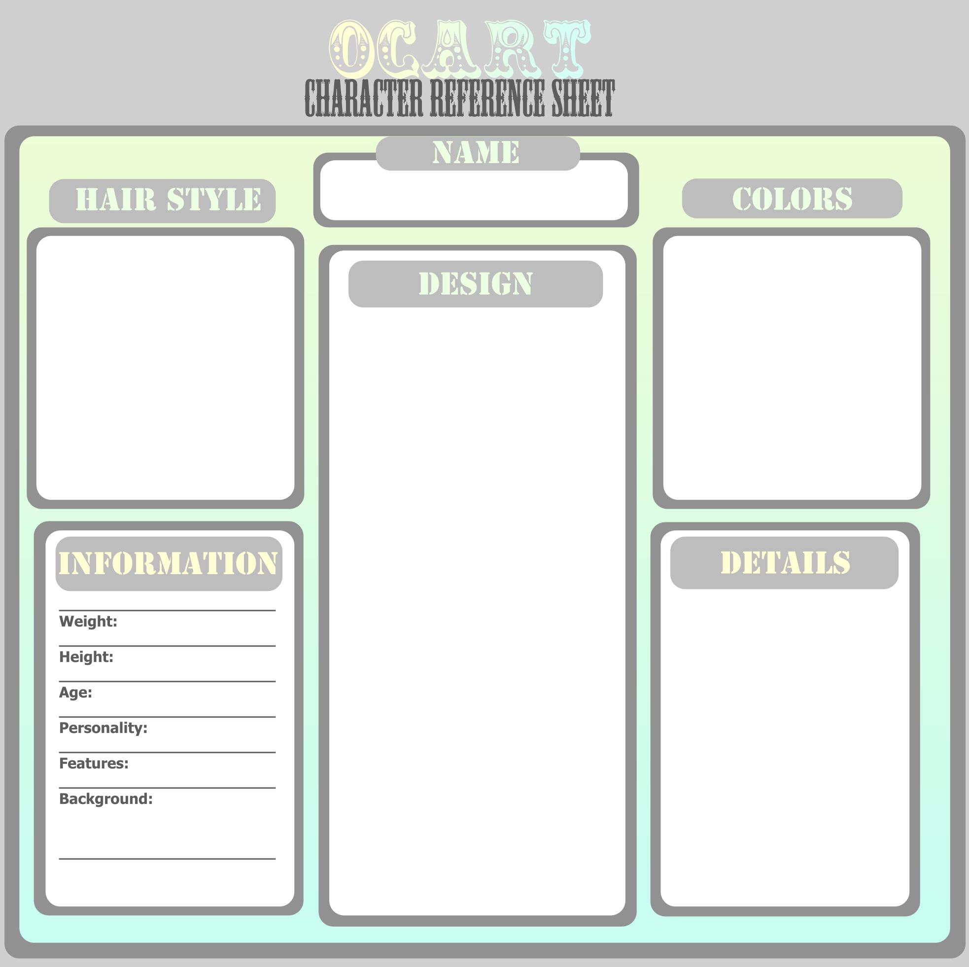 Ocart Character Ref Template By Thepurplecatviantart On Deviantart