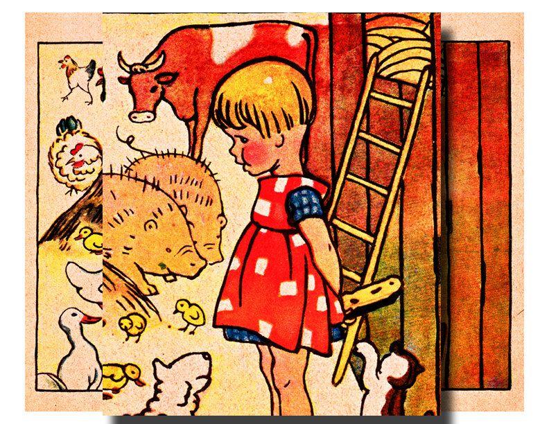 Vintage German Childrens Book Illustration Vintage Illustration Childrens Illustrations Children S Book Illustration