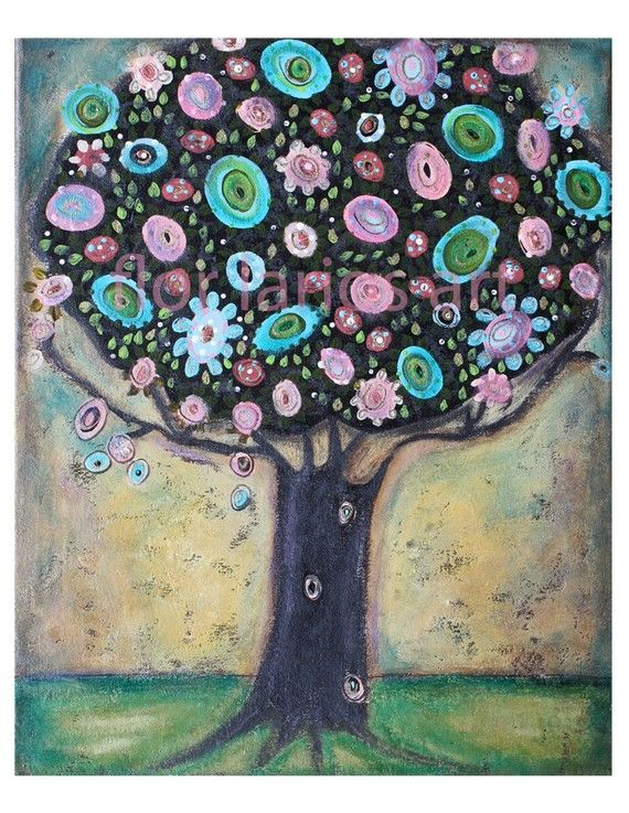 Holding Spring  Tree  Print from  Painting by FLOR by FlorLarios, $15.00