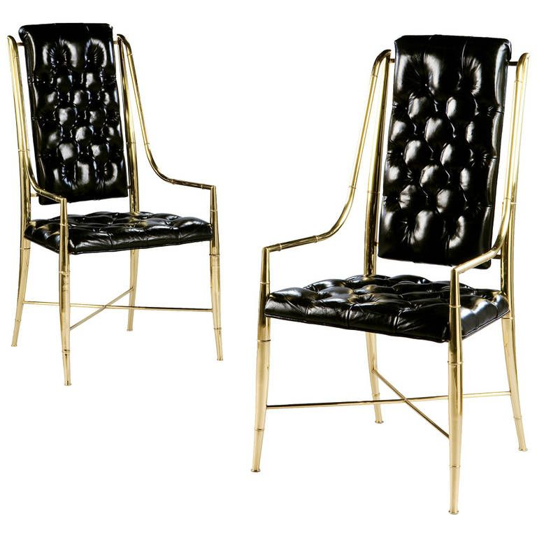 A Pair Of Mastercraft Simulated Bamboo Brass Armchairs Dining Room ChairsDining