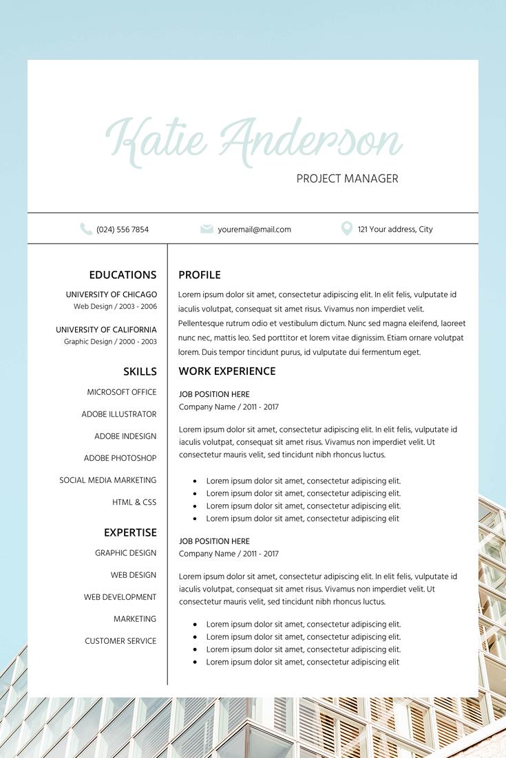 Resume Template Cv Cover Letter Katie Anderson 188249 Resume Templates Design Bundles Downloadable Resume Template Resume Template Job Resume Examples