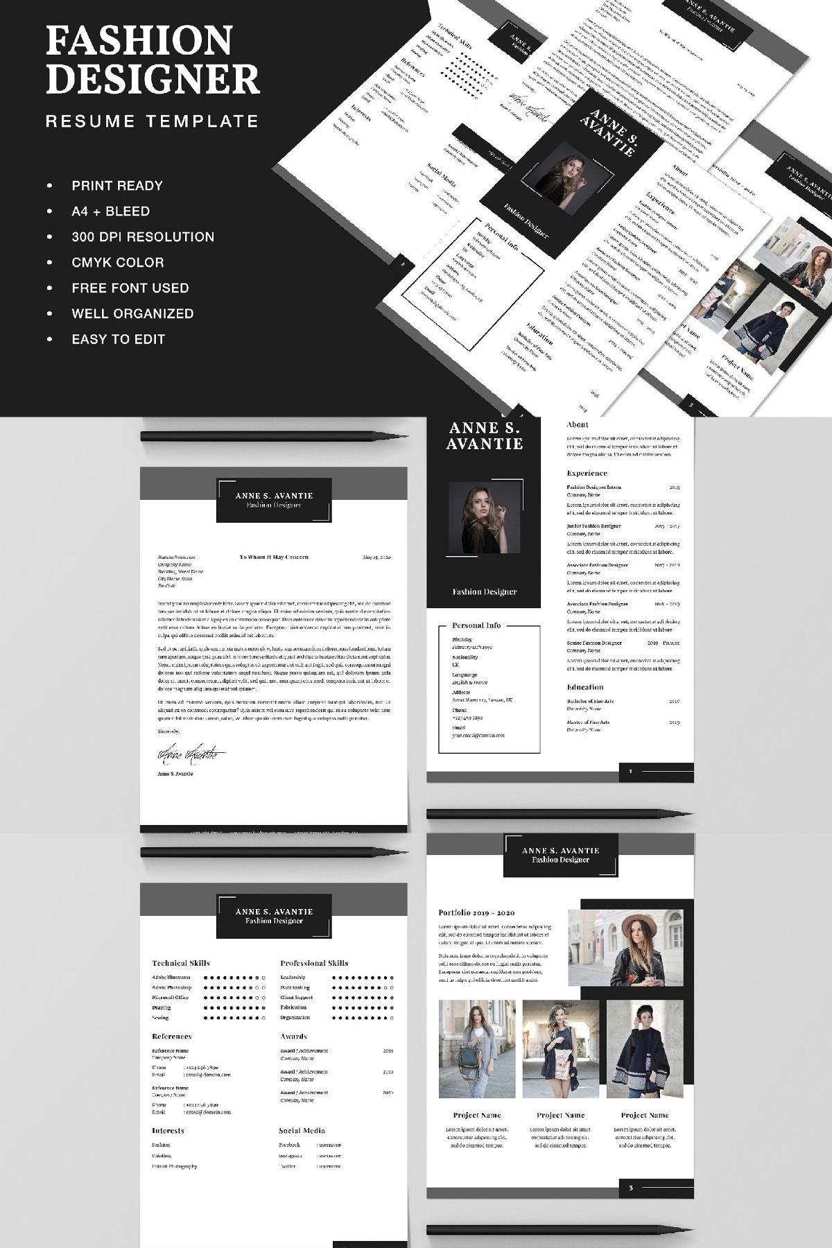 Fashion Designer Resume CV Template in 2020 Fashion