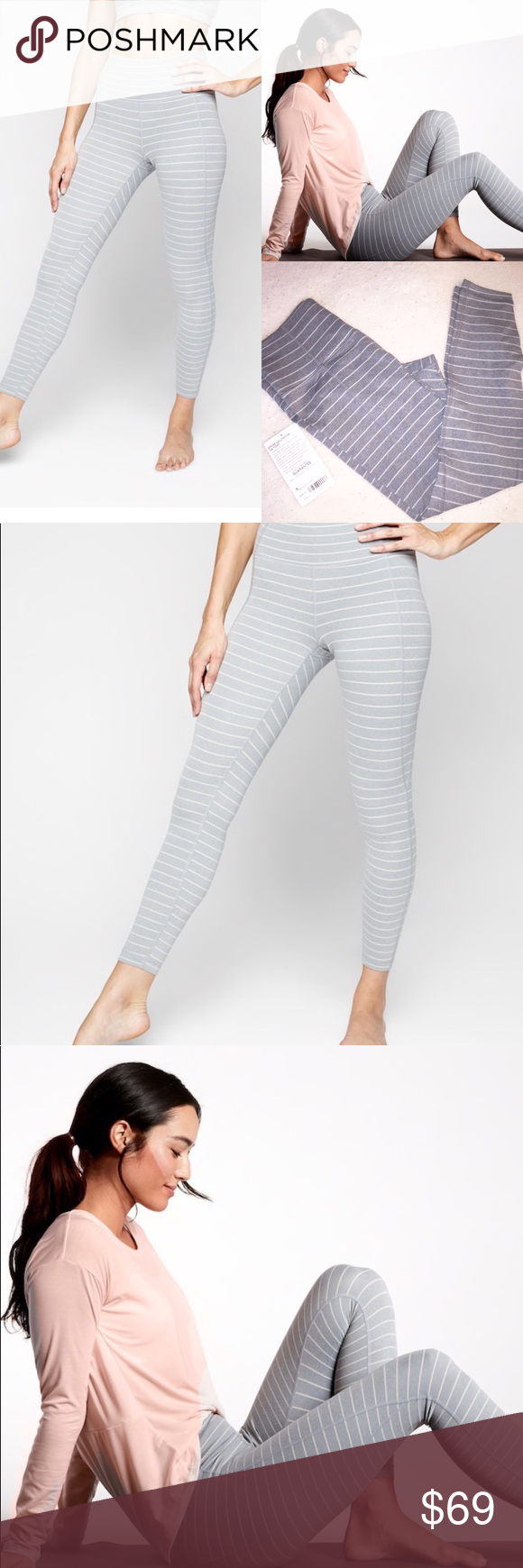 58e31626afca7 Athleta Stripe PowerVita Salutation 7/8 Tights PowerVita fabric Fitted,  High rise Fits next to skin, sits at natural waist Inseam: Re…