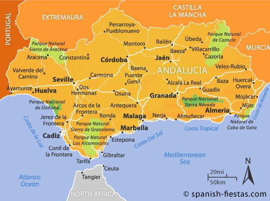 Andalucia Map Maps Pinterest Capital City Spain And: Detailed Map Of Andalucia Spain At Infoasik.co