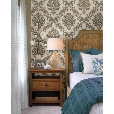 Beacon House 56 sq. ft. Sebastion Gold Damask Wallpaper-450-67359 - The Home Depot