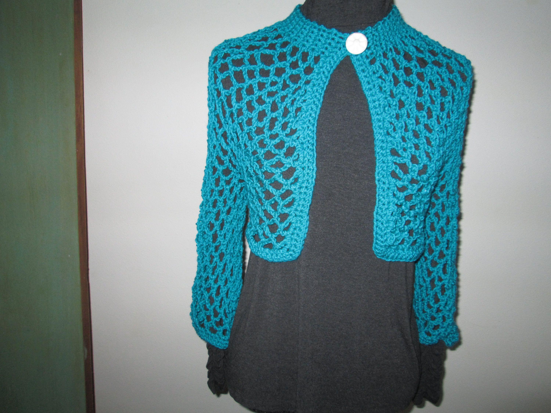 2175e1e0e01c Turquoise Bolero Crochet by SuzannesStitches
