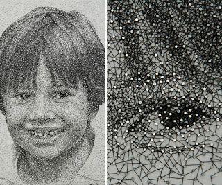 Curiosidades del Mundo: Kumi Yamashita: increíbles retratos con clavos e hilos. Nails and threading