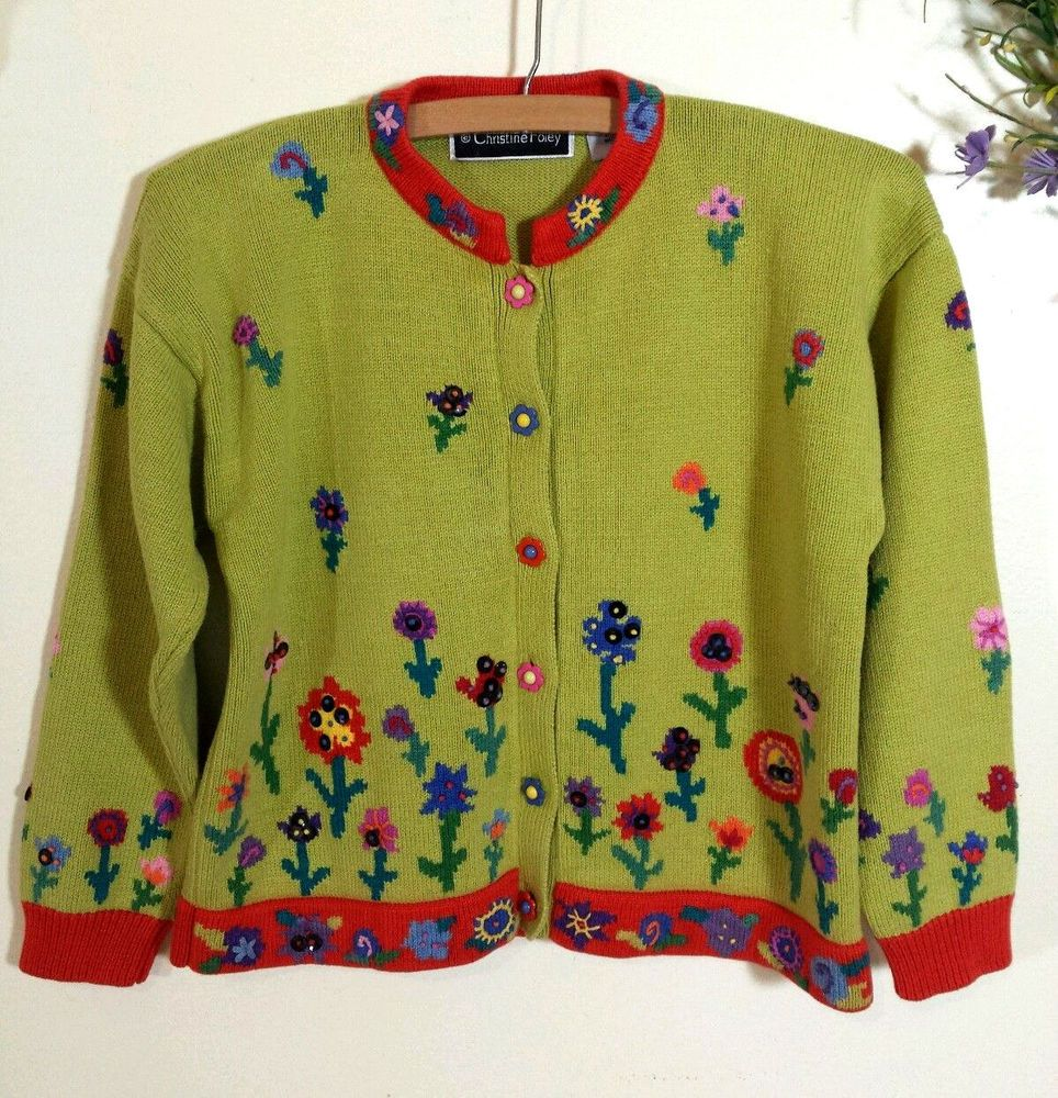 Christine Foley Green Floral Sequin Embroidered Sweater Sz P10/12 ...