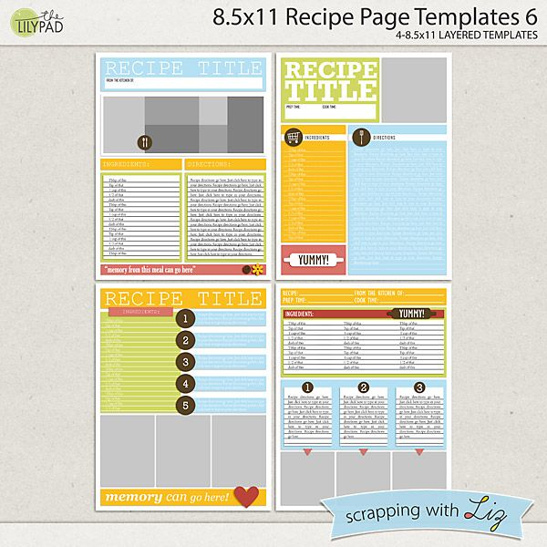 X Recipe Page Templates   Swl Products At The Lilypad