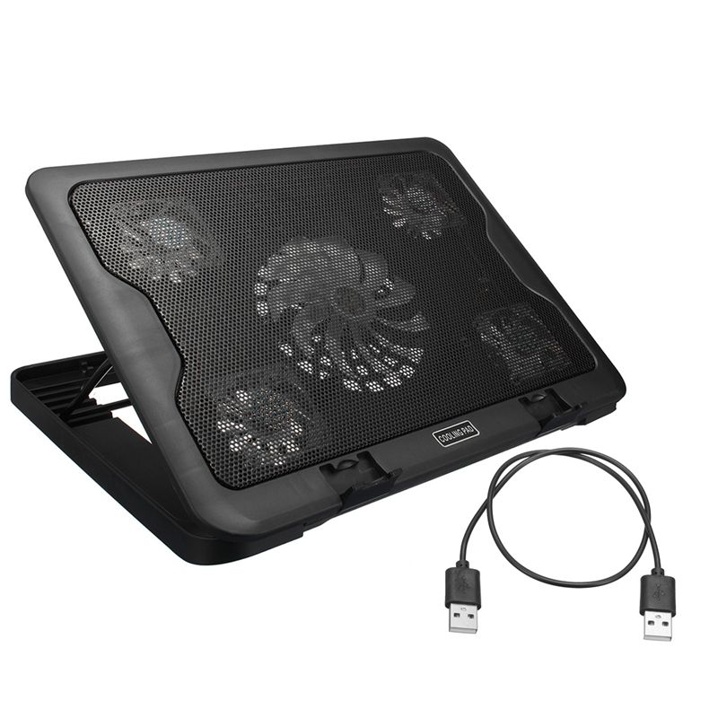 5 Fans Led Usb Cooling Pad Adjustable Cooler For Laptop Notebook