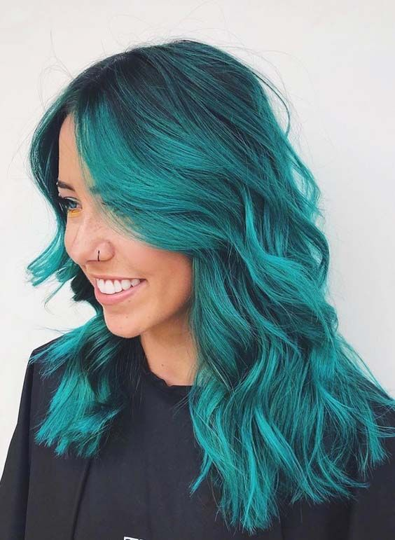 Bright Blue Color Blocking On One Wall And Ceiling: 47 Bright Blue Hair Color Shades & Highlights For 2018