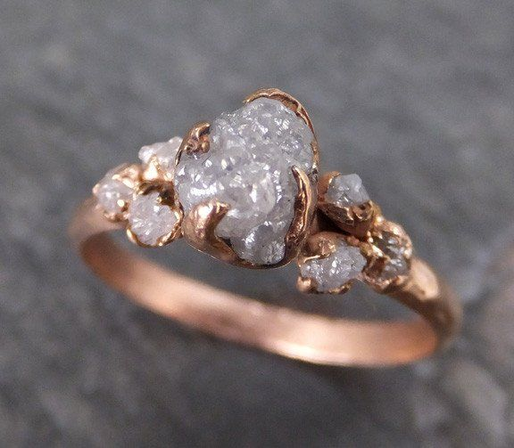 Raw Diamond Rose gold Engagement Ring Rough Gold Multi stone Wedding