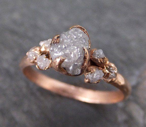 Uncut Diamond Enement Ring | Raw Diamond Rose Gold Engagement Ring Rough Gold Multi Stone Wedding