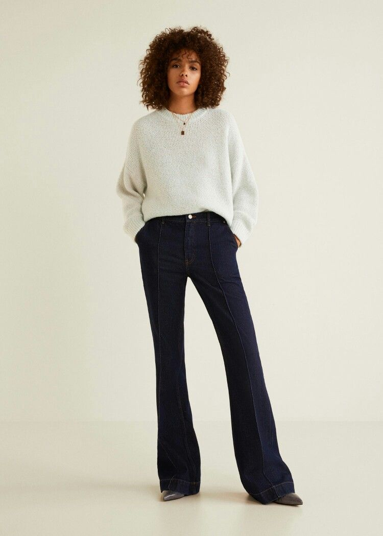 Mango light mint jumper Bell bottom jeans, Fashion, Pantsuit