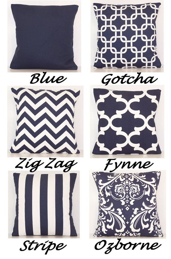 navy and white navy and white pillow cover by