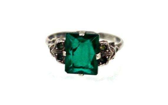 Emerald Green Art Deco Marcasite Ring Sterling by WarrenExchange