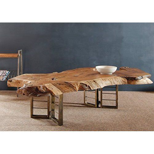 WOHNLING Couchtisch Massiv-Holz Akazie 90 cm breit Wohnzimmer