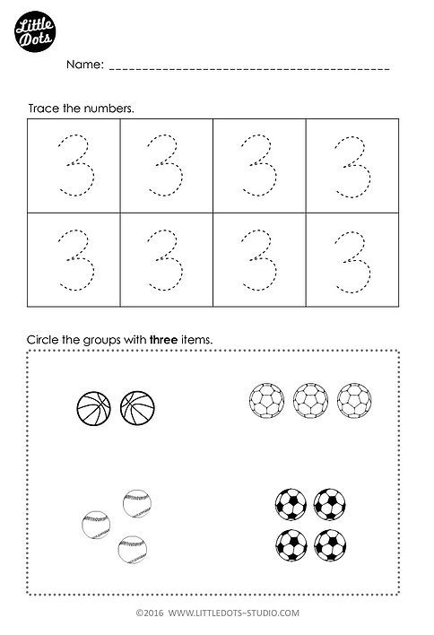 Free number 3 worksheet for prek level. Practice to trace