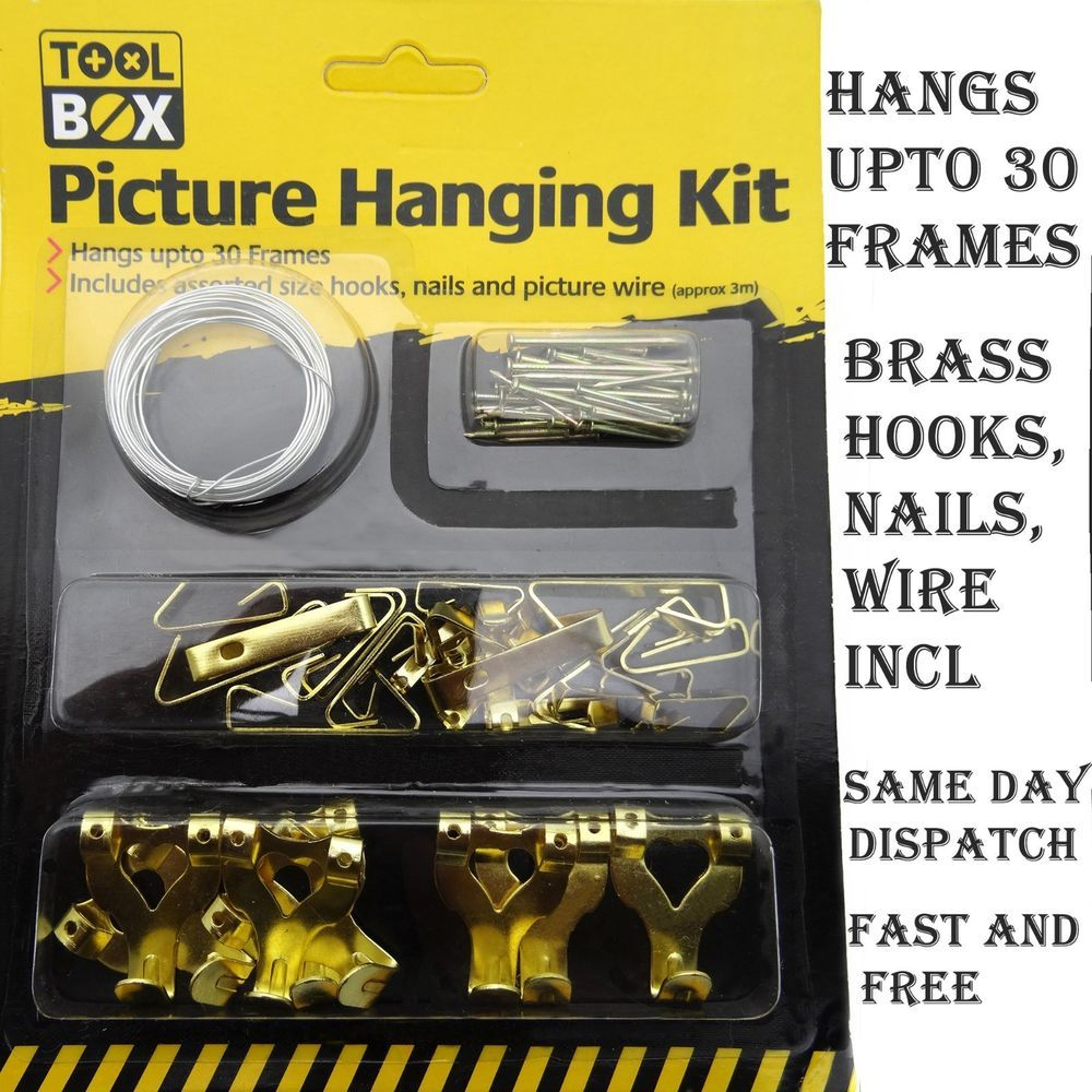 Picture Hanging Kit Mirror Photo Frame Hooks Brass Nail Level Wire Set Wall Picture Hanging Mirror Photo Frames Photo Frame