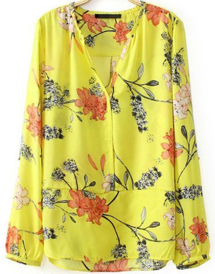 Yellow V Neck Long Sleeve Floral Chiffon Blouse