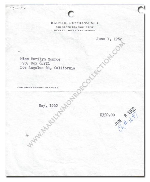 A OnePage Partly Printed Bill From Dr Ralph Greenson MarilynS