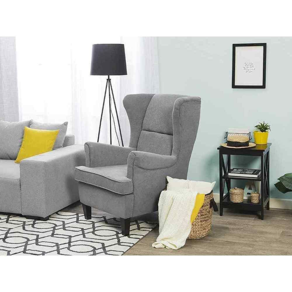 Single seater armchair wooden frame grey colour polyester living room furniture