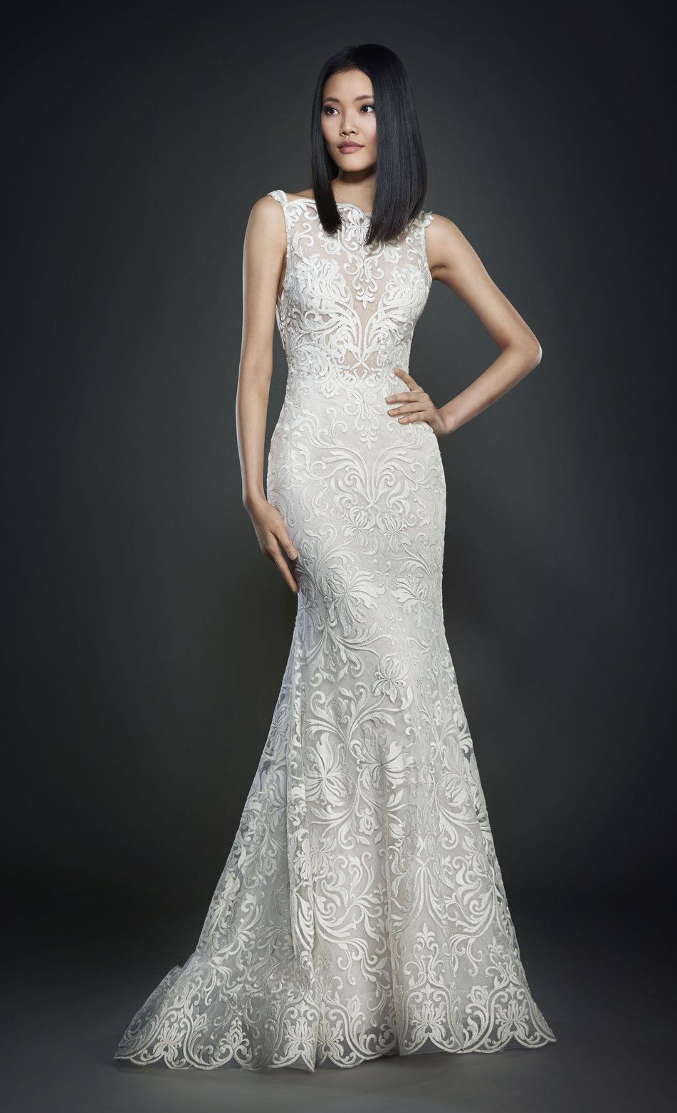 Lazaro bridal gown Champagne shimmer checkered net over