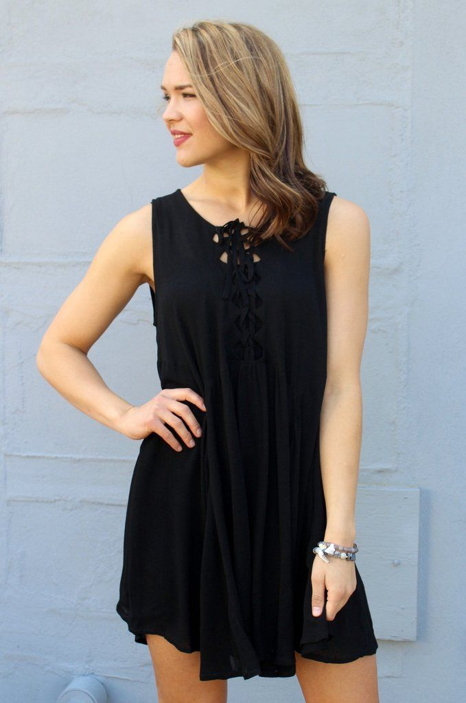 Flowy Black Lace-Up Dress #iHeartDSP