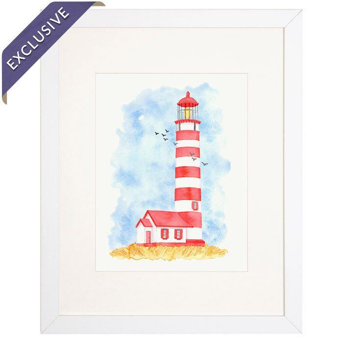 Lighthouse Framed Giclee Print By Golden Fox Goods Giclee Print Seaside Decor Print