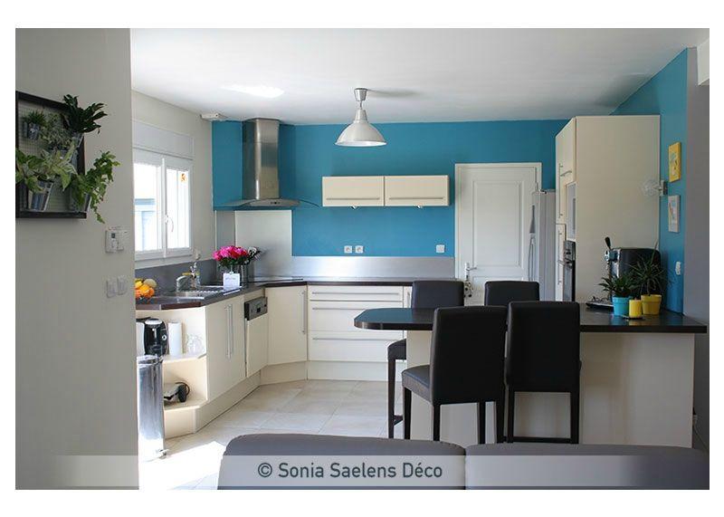 Projet client une pi ce de vie moderne et lumineuse sonia saelens d co mes r alisations - Cuisine bleue et blanche ...