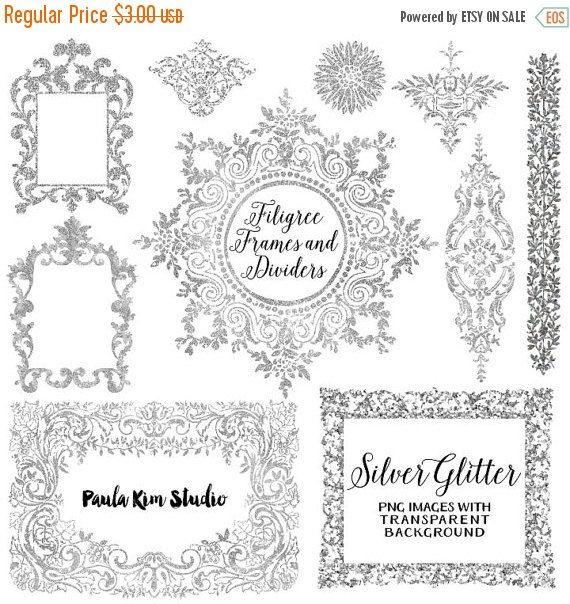 Silver Glitter Digital Frame Flourish Clipart Silver Frames Etsy Digital Frame Silver Glitter Clip Art
