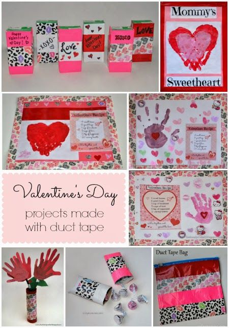 Valentines Day Duck Tape Placemat Craft With Handprints Cute