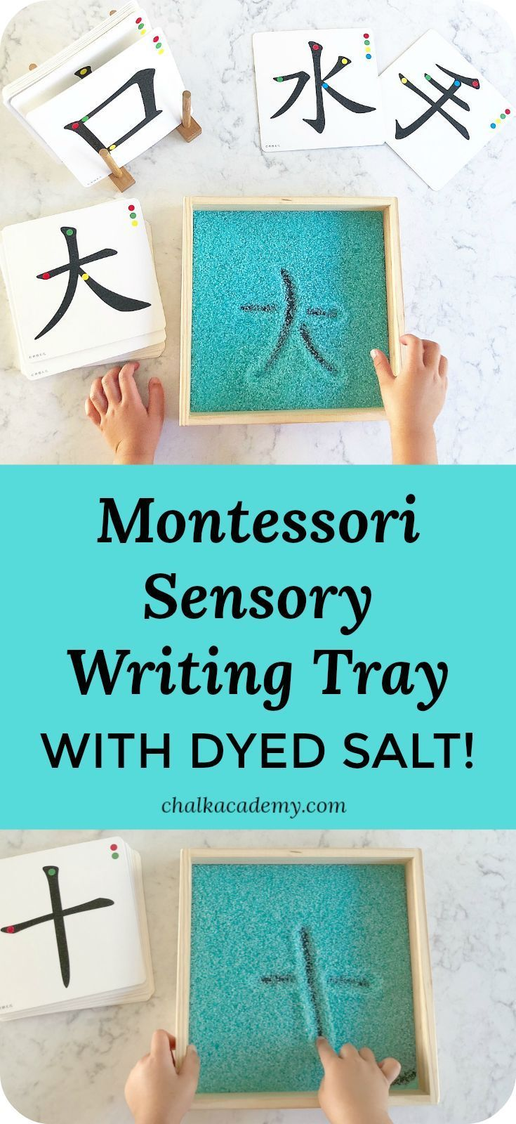Sensory Salt Writing Tray  Montessori Inspired Activity! (VIDEO) • CHALK is part of Montessori, Montessori toddler activities, Montessori classroom, Montessori preschool, Montessori trays, Montessori toddler - Montessori salt writing tray is a fun and effective way to learn letters  Sensory input from the salt helps commit each writing stroke to memory!