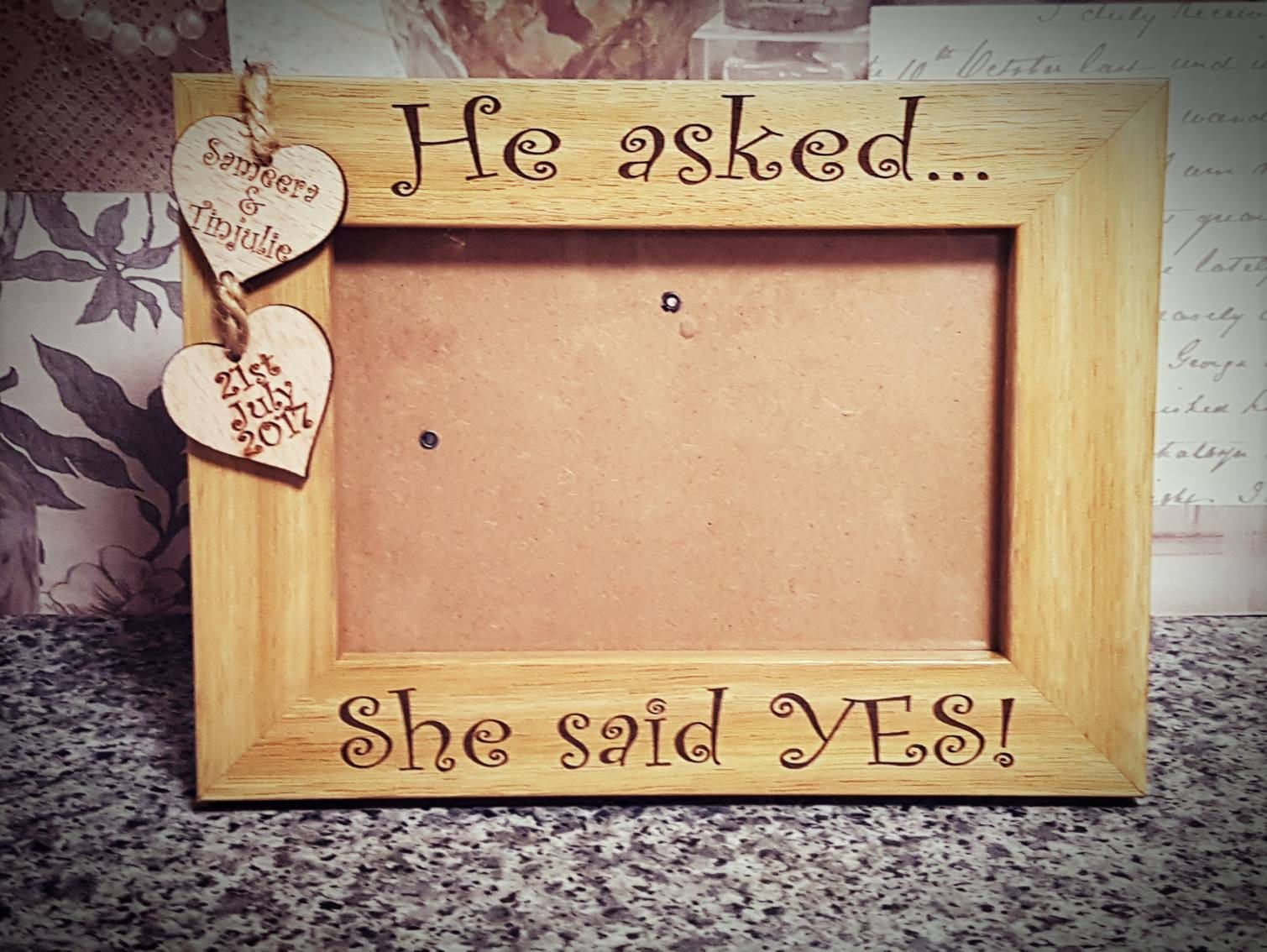 He Asked She Said Yes Engagement Frame Personalised Engagement