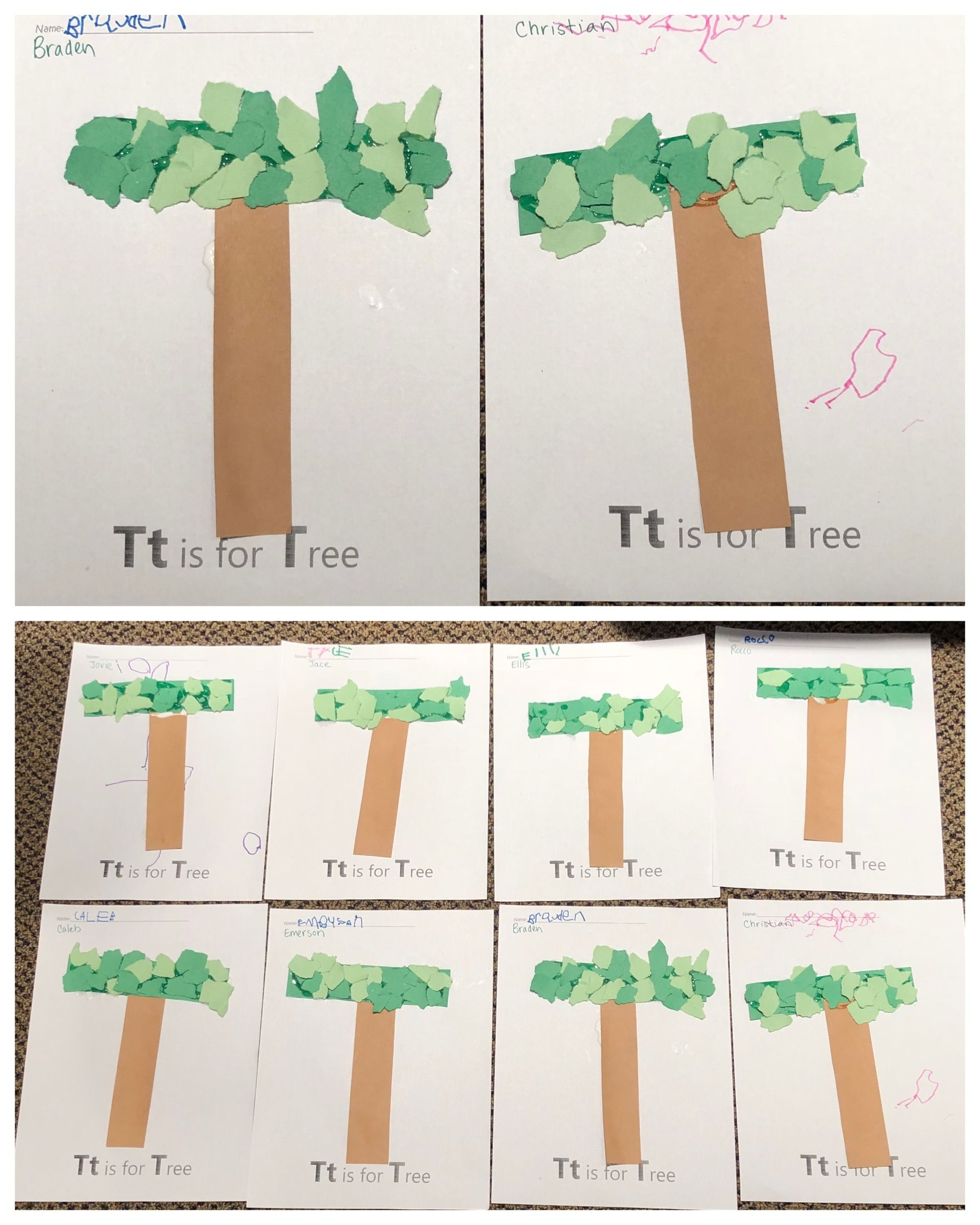 T Is For Tree Alphabet Art Preschool Letter Craft