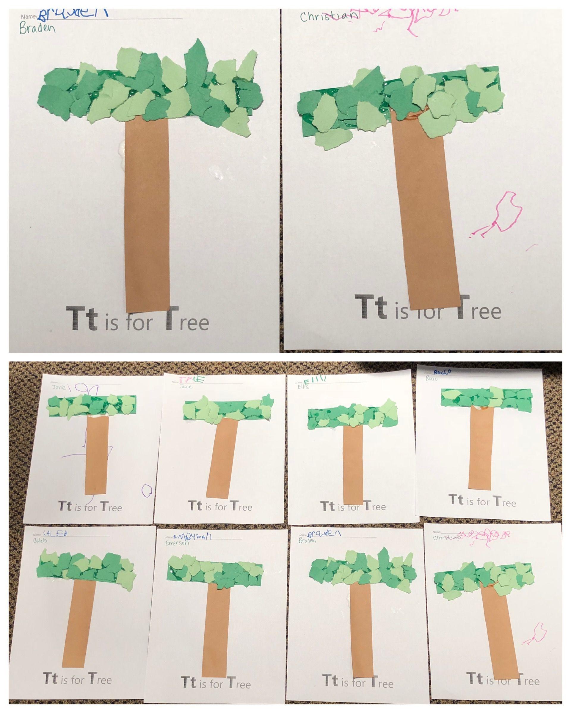 T Is For Tree Alphabet Art Preschool Letter Craft
