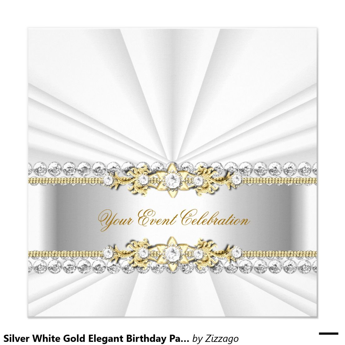 Silver White Gold Elegant Birthday Party Card | Elegant birthday ...