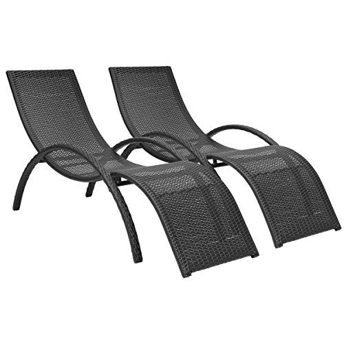 Charles Bentley Pair Of Rattan Wicker Garden Curved Sun Loungers ...