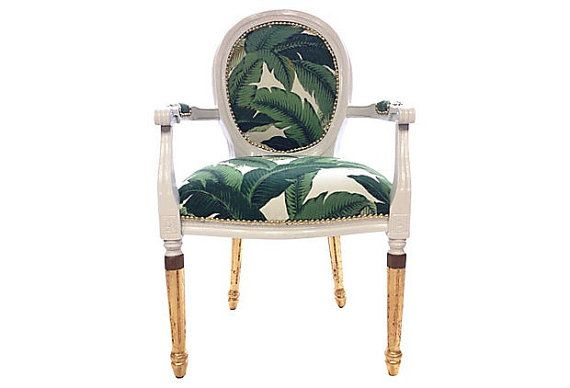 French Louis Banana Leaf Gilded Arm Chair By THRONE Upholstery   Oval Back  Chair + Palm
