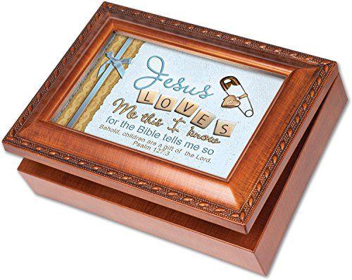 Cottage Garden Baptized in Christ Woodgrain Petite Music Box//Jewelry Box Plays Amazing Grace