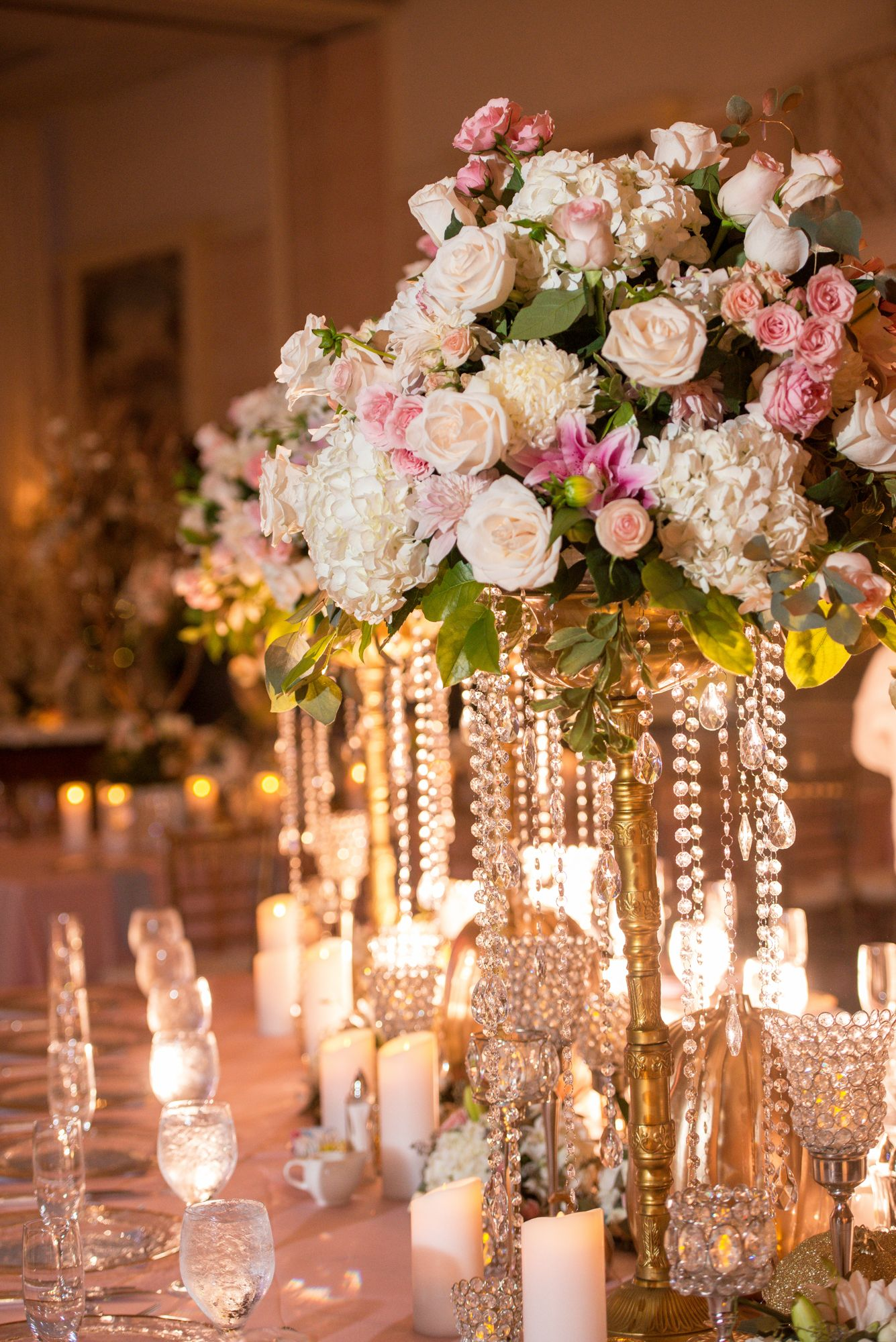 Cinderella Inspired Reception Table With Lush Flowers And Golden