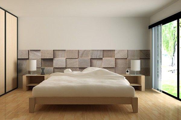 Papier peint trompe l'oeil Cubes en bois | Bedroom design | Tête