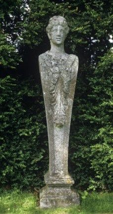 Stone Herm statue - at the garden in Mottisfont, Hampshire
