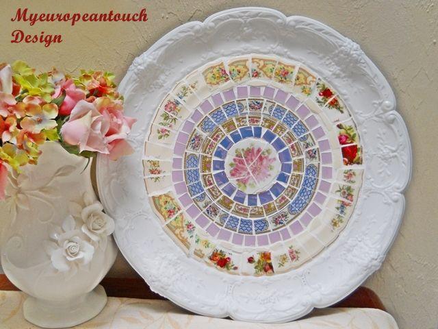 This handmade Mosaic Serving Platter, decor plate, will enhance any room…